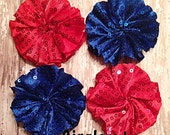4TH of July Sequin Twirl Flowers- Ballerina Flowers 2.5 inch- Tutu Flowers- Diy Flowers- Headband Supplies- 4 pc set Red and Royal
