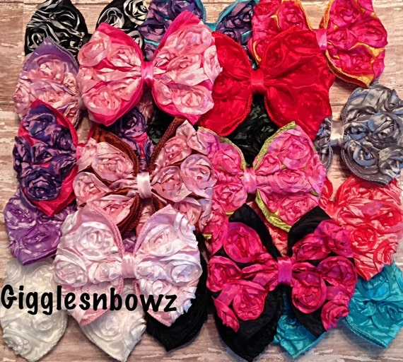 10 Rosette Bows- 4 inch Bows- Choose your Colors- Satin Rosette Ribbon Bows- Headband Supplies- Fabric Bows- Diy Craft Supplies