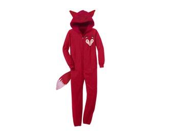 Geo Fox Onesie - Fleece Hooded Zip Sweatshirt Lounger with Ears and Tail in Red - Unisex Size XS-4XL