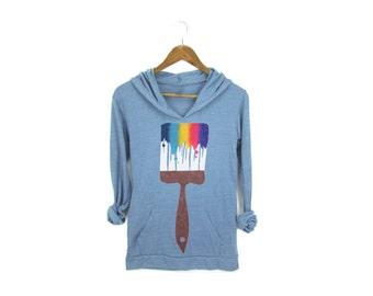 Paint Brush Hoodie - Lightweight Scoop Neck Hooded T-Shirt Pullover Sweatshirt in Heather Blue and Rainbow - Women's Size S-XL
