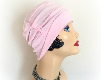 Chemo Hats - Soft Cotton Head Covering - Hat for Hair Loss - Alopecia Hats - Pink Jersey Hat - Slouchy Hat - Soft Beanie Hats - Handmade USA