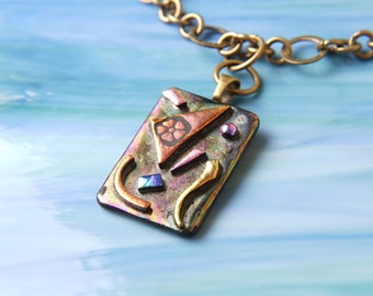 Dichroic Fused Glass and Bronze Pendant Necklace