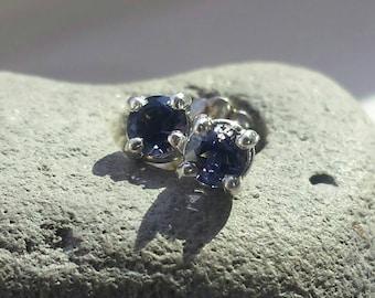 Iolite Stud Earrings in Sterling Silver