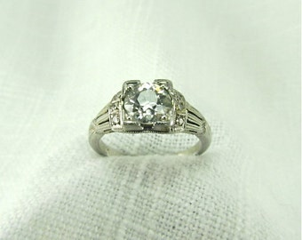 On Sale! Appraisal Value 11,855. Circa 1950's 18KT  Engagement Ring set with 1.20 CT Old European Cut Diamond