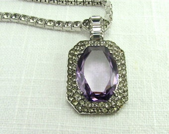 Circa 1930 Art Deco Sterling Silver and Paste stone Necklace