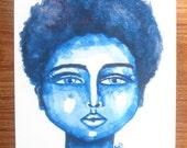 African American Artwork Print 'Little Blue'