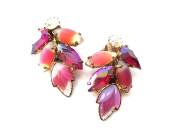 Signed West Germany Red, Cream, and Peach AB Aurora Borealis & Navette Glass Rhinestone Gold Tone Metal Leaf Clip On Earrings