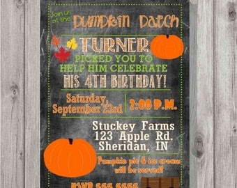 ONSALE Digital Chalkboard Style Fall Pumpkin Patch Picking Birthday Party Invitation DIY Printable