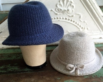 Vintage Lot 2 Wool Blend Vintage hats Winter Cloche Gray BLue Made in Italy