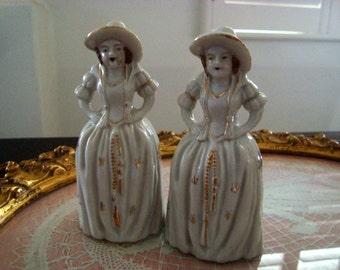 Vintage Set of 2 Porcelain Bells Southern Lady Figurines