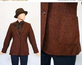 Vintage Brown Tweed Jacket / Fitted Blazer / Tailored Womans Jacket / 1970s Prep Blazer / 70s Riding Jacket / Collegiate / Large