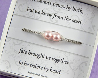 Peas in a Pod, Two peas In A Pod Bracelet, Sisters Bracelet, Friendship Bracelet, Choose Your Swarovski Pearl Color