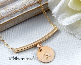 Personalized Gold Bar Necklace, Initial Necklace, Gold Filled Necklace, layering necklace