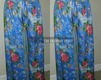 Hawaiian Concept Art  Exclusive print mesh fabric one slit maxi skirt resort beach cover up  Cruise