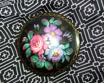 Hand Painted Russian Pin or Brooch Flowers Round Black Gold Trim Hand Painted Wooden Signed