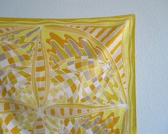 Vintage Sunny Yellow Mosaic Print Scarf - Pretty 70s Gold and Gray Stained Glass Scarf - Vintage 1970s Scarf