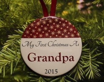 First Christmas As Grandpa Ornament - Burgundy Cream - C069