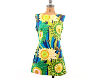vintage 60s mod PSYCHEDELIC print TUNIC tank S