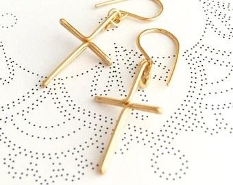 Gold Cross Earrings. 14k Gold Filled Cross Dangle Earrings. Criss Cross Earrings.