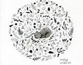 Dreaming of spring - Original artwork, ink on art paper