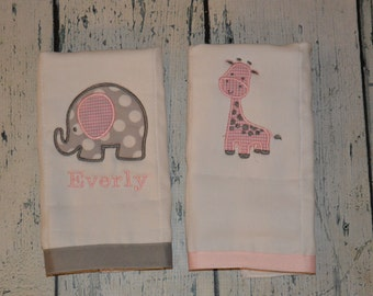 Personalized Elephant and Giraffe  Burp cloth Set of 2  Burpies  Monogrammed