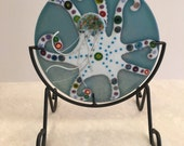 Octopus and Jellyfish, Ocean Art Fused Glass, Round Panel with Metal Display Stand, Handmade, One of a Kind, Jelly Fish