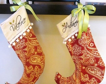 Custom Hand Embroidered Christmas Stockings - Elf Style -  with Names on Red and White Paisley- Wedding Check Holder
