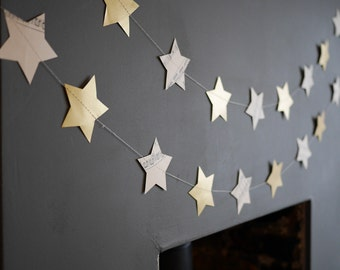 Paper Star Garland. Christmas Garland// Star Garland// Christmas Bunting// Star Bunting// Christmas Decor.