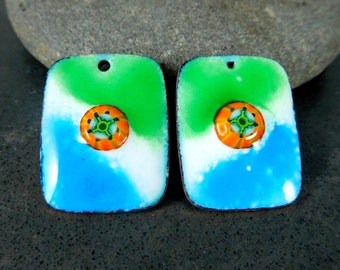 Blue Green Orange White Enamel Earring Bead Pair, Enameled Copper Charms, Rectangle Pendants, Boho Chic Jewelry Components, Colorful Drops