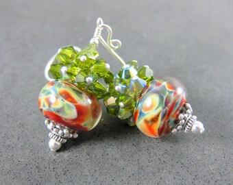 Rustic Glass Drop Earrings, Colorful Earthy Earrings, Olive Crystal Earrings, Burnt Orange Green Ivory Boro Lampwork Earrings, Boho Earrings