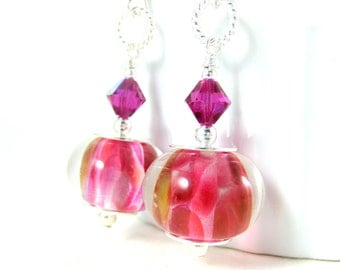 Hot Pink Glass & Sterling Silver Dangle Earrings, Pink Drop Earrings,  Lampwork Earrings, Modern Earrings. Fuchsia Earrings, Gift for Her