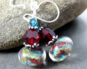 Red Blue Green Glass & Crystal Dangle Earrings, Boho Chic Earrings, Rustic Organic Earrings, Boro Lampwork Earrings, Woodland Jewelry