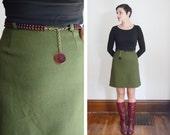 1960s Green High Waisted Mini Skirt - S