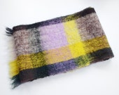 1960s Yellow and Purple Wool Plaid Scarf
