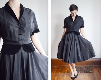 1950s Black Taffeta Dress - M/L