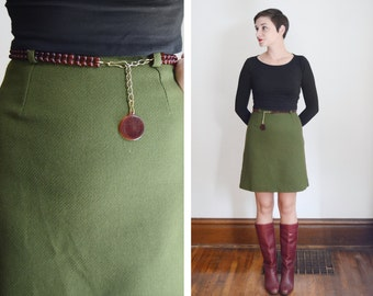 1960s Green High Waisted Mini Skirt - S
