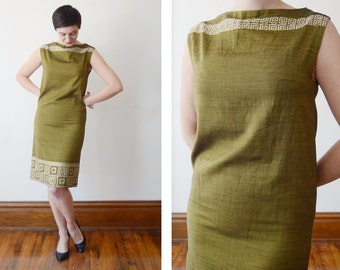 Deadstock Greek 1960s Green Shift Dress - S