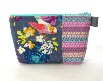 Gigi Blooms Fabric Large Cosmetic Bag Zipper Pouch Padded Makeup Bag Cotton Zip Pouch Hello Birdie Colorful Floral Bird Gray Orchid Blue