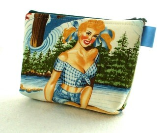 Great Outdoors Retro Pin-Up Girl Fabric Gadget Pouch Small Cosmetic Bag Fabric Zipper Pouch Makeup Bag Alexander Henry Plaid Cabin Fishing