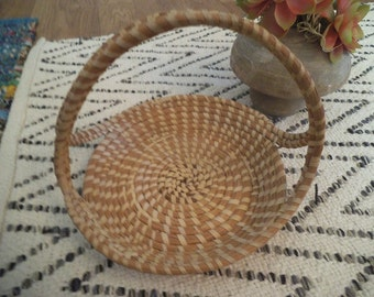 Vintage Woven Grass Basket with Handles ~ Southwestern ~ Indian ~ Exotic basket ~ small rolled Rope Grass