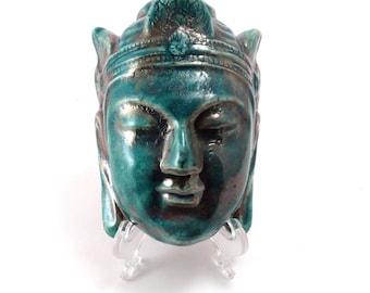 Buddha Head Raku Pottery Sculpture