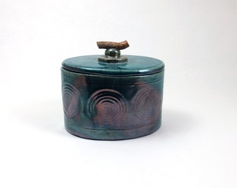 Raku Lidded Container Handmade Ceramic Pottery
