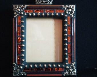 Mosaic Picture Frame Orange/Gold