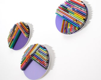 purple set of 3 - round BRIGHT modern wall art- made from recycled magazines, unique, disc, round, paper,