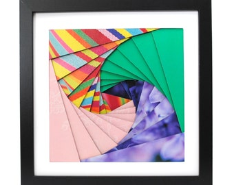 colorful pinwheel shadowbox- made from recycled magazines, pink, teal, purple, rainbow, spiral, modern, colorful, handmade, interior design