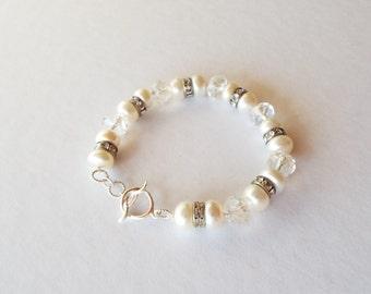 Swarovski crystal, freshwater pearl and sterling silver bracelet