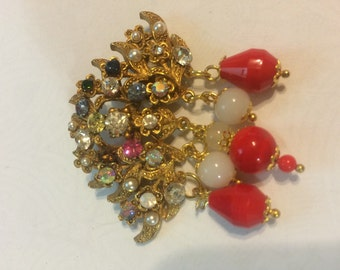 repurposed vintage brooch rhinestones and dangles SS