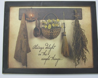 "Primitive Wall Decor, Baskets,Handmade Frame, Distressed Handmade Frame,221/2""x181/2"",Always Delight,Susie Boyer"