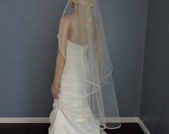 Single Tier Horsehair Trim 5/8 or 1/4 Wedding Veil , Bridal Veil