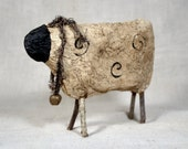 Paper Mache Sheep * folk art * handmade * soft sculpture